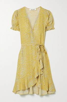Diane von Furstenberg Emilia Ruffled Leopard-print Crepe Wrap Mini Dress - Yellow