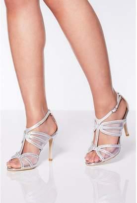 Quiz Silver Shimmer Strappy Heel Sandals