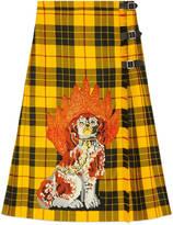 Gucci Embroidered tartan wool skirt