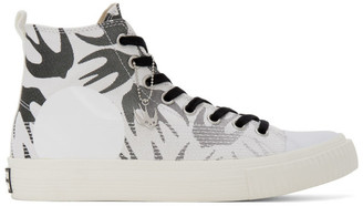 McQ White and Black Plimsoll High Top Sneakers