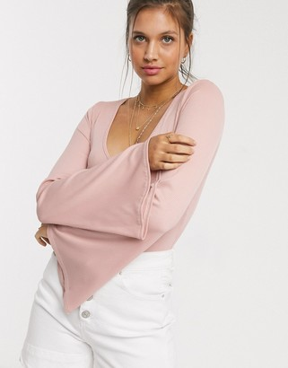 Free People Charli flare sleeve bodysuit-Pink