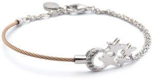 Charriol White Topaz Moon & Stars Cable Bracelet (1/8 ct. t.w.) in Sterling Silver & Rose Gold-Tone Pvd Stainless Steel