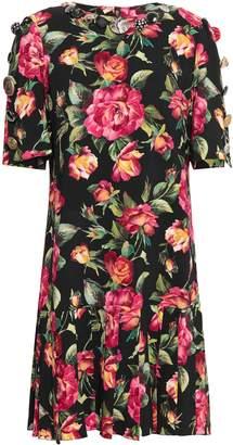 Dolce & Gabbana Embellished Pleated Floral-print Crepe Dress