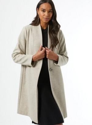 Dorothy Perkins Womens Oatmeal Collarless Unlined Coat