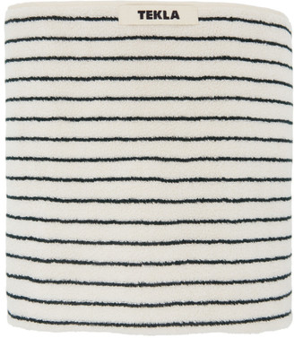 Tekla Off-White and Green Striped Organic Towel
