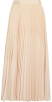 Alice + Olivia Essie Pleated Georgette Midi Skirt - Cream