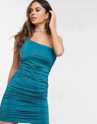 In The Style ruched one shoulder satin dress in blue