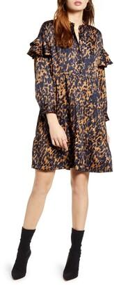 Vero Moda Gillea Animal Print Long Sleeve Shift Dress