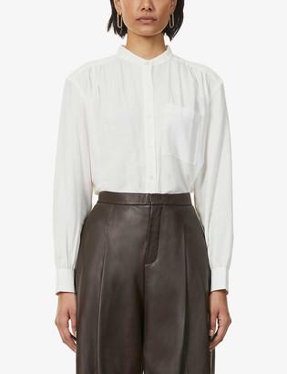 Whistles Gather-detail cotton-blend shirt