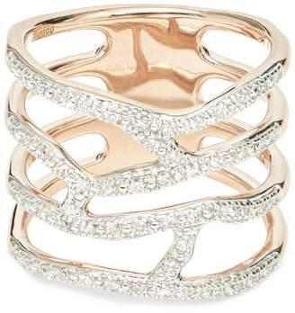 Monica Vinader Rose Gold Vermeil Riva Waterfall Diamond Cocktail Ring