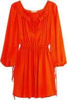 Michael Kors Ruffled Silk-Crepe Mini Dress
