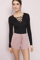 Garage Long Sleeve Lace-Up Top