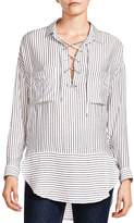The Kooples Striped Lace-Up Shirt