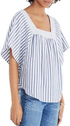 Madewell Striped Flutter Sleeve Top (Regular & Plus Size)
