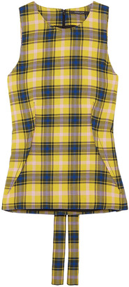 Derek Lam Checked Cotton And Wool-blend Gauze Top