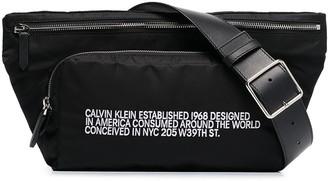 Calvin Klein black address print belt bag