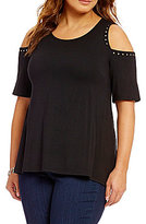 Chelsea & Theodore Plus Cold Shoulder Top
