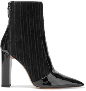 Alexandre Birman Michella 100 Suede, Patent-leather And Velvet Ankle Boots