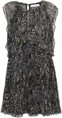 IRO Ruffle-trimmed Printed Georgette Mini Dress