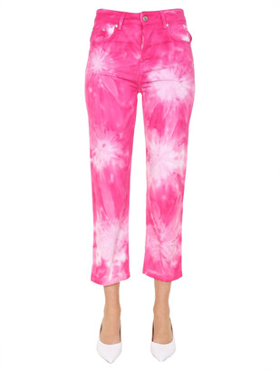 MSGM Tie-Dye Cropped Denim Jeans