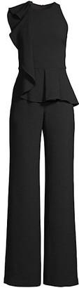 Black Halo Felicia Draped-Ruffle Wide-Leg Jumpsuit