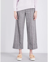 Mo&Co. Welsh plaid linen and cotton-blend trousers