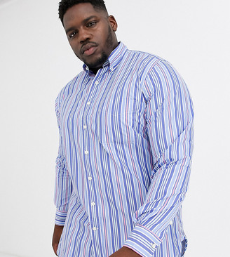 Polo Ralph Lauren Big & Tall stripe button down one pocket shirt stretch poplin in blue pastel multi