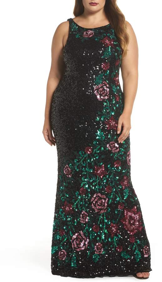 Mac Duggal Floral Sequin A-Line Gown