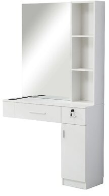 Bronx Brecken Hair Styling Barber Station Floating Desk with Hutch Ivy Color: White