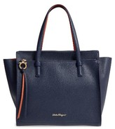 Salvatore Ferragamo Large Pebbled Leather Tote - Blue