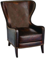 Massoud Furniture Dempsey Wingback Chair, Cocoa Leather