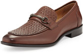 Neiman Marcus Roma Basketweave Leather Loafer, Mid Brown
