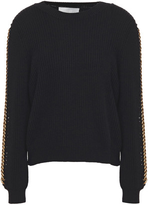 Mason by Michelle Mason Chain-trimmed Ribbed Cotton And Wool-blend Sweater