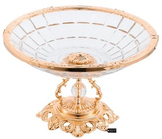 Matashi Home Decorative Dining Tabletop Showpiece Crystal Candy Centerpiece Decorative Bowl Plate Dish, Round Serving Platter with Rose Gold Plated Pedestal and Crystal Ball Base