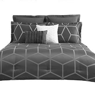 Chezmoi Collection Corvo-Com--Queen 5 Pieces Modern Jacquard Geometric Lattice Pattern Bedding Comforter Set