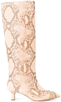 Paris Texas Python-Effect Knee-High Boots