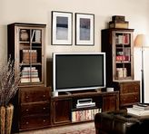 Pottery Barn Logan Media Suite with Glass Towers, Mahogany Stain