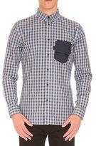 Givenchy Plaid Sport Shirt w/Logo Pocket, Navy