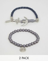 ICON BRAND Beaded Anchor Bracelets In 2 Pack