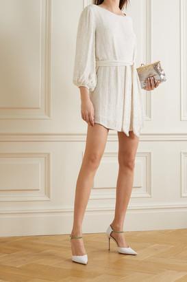 retrofete Grace Velvet-trimmed Sequined Chiffon Mini Dress - White