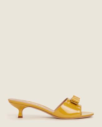 Salvatore Ferragamo Yellow Ginostra Bow Patent Sandals