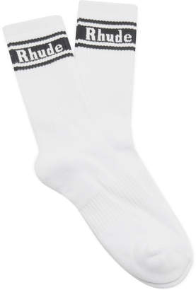 Rhude Striped Logo Cotton Socks