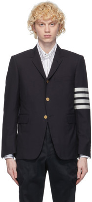 Thom Browne Navy Plain Weave Classic 4-Bar Blazer