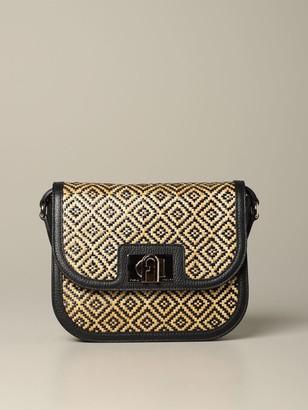 Furla Crossbody Bags Bag In Rhombus Raffia And Leather