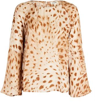 L'Agence Dylan Cheetah Printed Silk Blouse