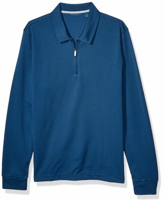 Perry Ellis Men's Double Knit Quarter Zip Long Sleeve Polo Shirt
