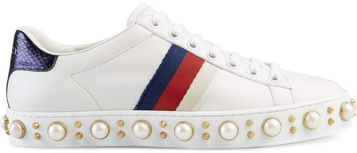 2e1094572c4 Gucci Pearl Sneakers - ShopStyle