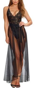 Dreamgirl Mosaic Lace Teddy & Sheer Skirt