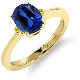 Gem Stone King 1.67 Ct Oval Blue Simulated Sapphire Canary Diamond 14K Yellow Gold Ring