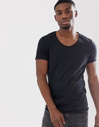 Selected scoop neck rolled hem t-shirt in black
